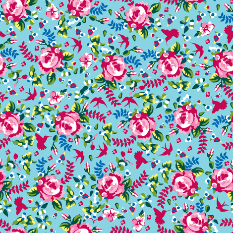 Summer Florals turquoise fabric by danielle_b on Spoonflower - custom fabric