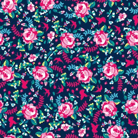 summer florals blue fabric by danielle_b on Spoonflower - custom fabric
