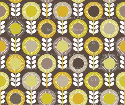 Flower Scales gold-grey multi - dark