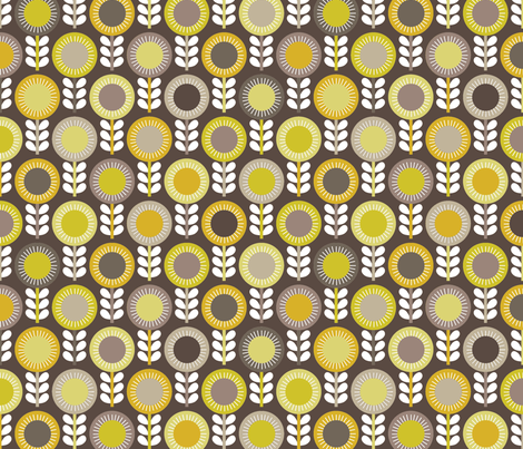 Flower Scales gold-grey multi - dark fabric by kayajoy on Spoonflower - custom fabric