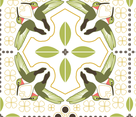 Hummingbird Quilt - Custom Design for Karen fabric by katphillipsdesigns on Spoonflower - custom fabric
