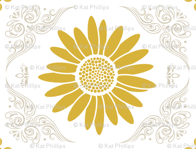 Lacy Daisy in Curry Yellow & Light Gray