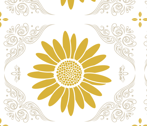 Lacy Daisy in Curry Yellow & Light Gray fabric by katphillipsdesigns on Spoonflower - custom fabric