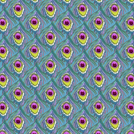 peacock by the numbers raspberry fabric by glimmericks on Spoonflower - custom fabric
