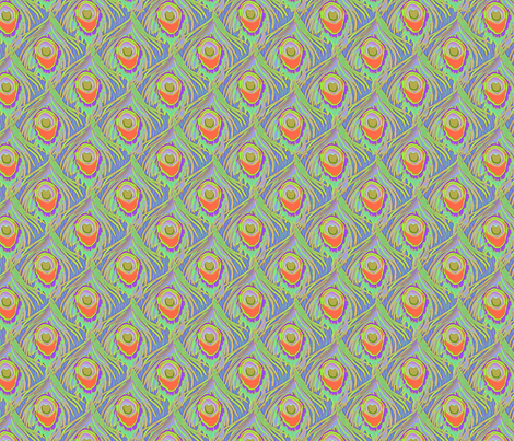 peacock_by_the_numbers coral dream fabric by glimmericks on Spoonflower - custom fabric