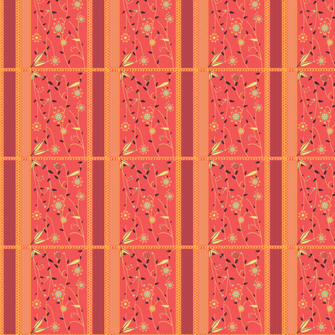 Orange Vining Flower Quilted fabric by eppiepeppercorn on Spoonflower - custom fabric