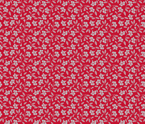 Japanese blossom red fabric by cjldesigns on Spoonflower - custom fabric