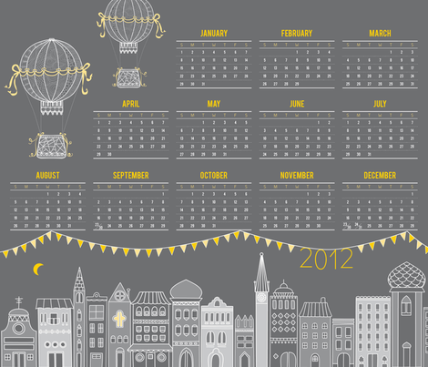 Tea Towel Calendar 2012: Night Time fabric by jackieatweelife on Spoonflower - custom fabric