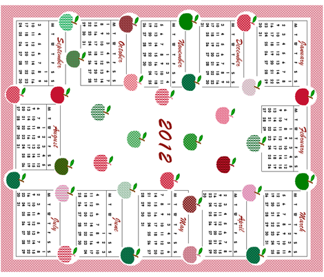 2012 Calendar - Apples! fabric by elizabethjones on Spoonflower - custom fabric