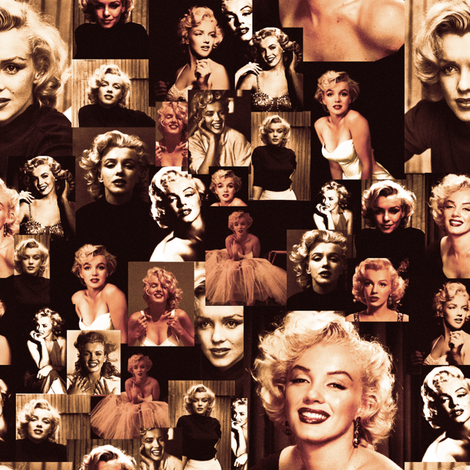 Marilyn Monroe Vintage Collage fabric by lusyspoon on Spoonflower - custom fabric