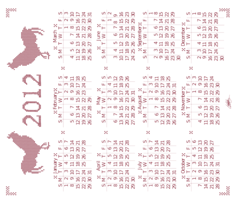 LaraGeorgine_2012_Calendar fabric by larageorgine on Spoonflower - custom fabric