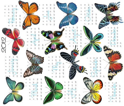 Butterfly Painting Calendar 2012 fabric by angelaanderson on Spoonflower - custom fabric
