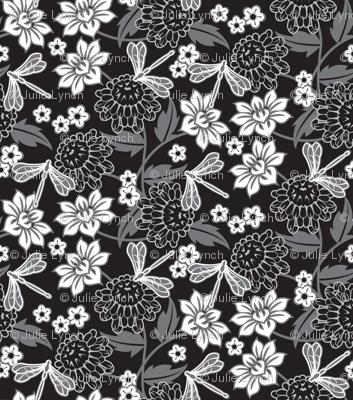 Japanese large floral black