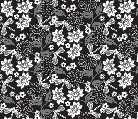 Japanese large floral black fabric by cjldesigns on Spoonflower - custom fabric