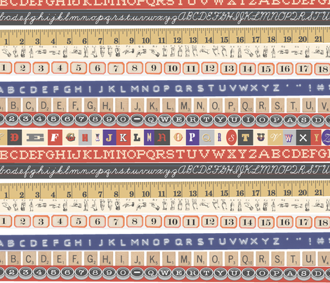 Washi Tape (Letters and Numbers) || Japanese stripes deco ribbon typography alphabet numbers letters fabric by pennycandy on Spoonflower - custom fabric