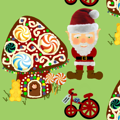 Gnomeville Santa fabric by paragonstudios on Spoonflower - custom fabric