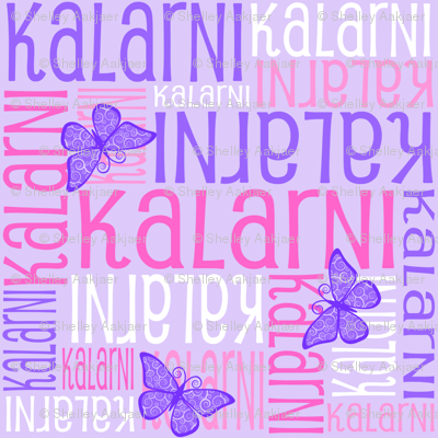 Personalised Name Fabric - Butterflies Purples Pinks