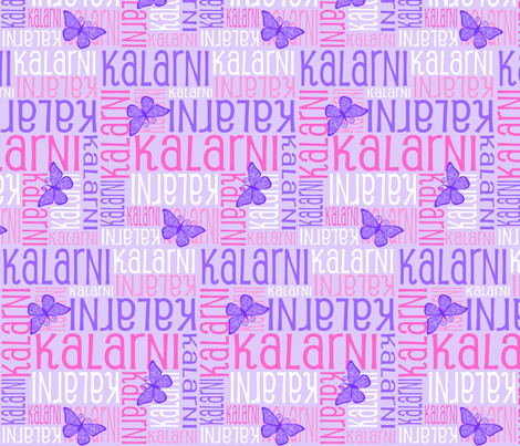 Personalised Name Fabric - Butterflies Purples Pinks fabric by shelleymade on Spoonflower - custom fabric