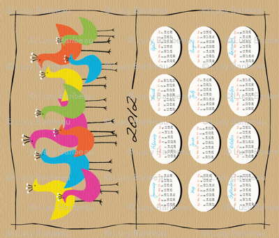 Retro birds 2012 tea towel calendar