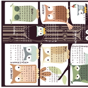 Owl Tree Tea Towel 2013 Calendar - Extra Coasters for Linen-Cotton Canvas width (hit zoom)