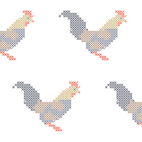 Cross stitch rooster fabric by ravynka on Spoonflower - custom fabric