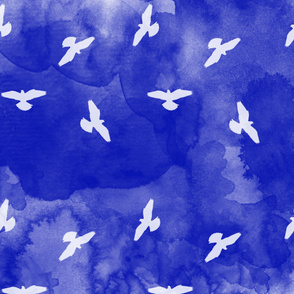 Watercolor Birds Blue