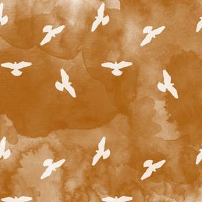 Watercolor Birds Burnt Umber