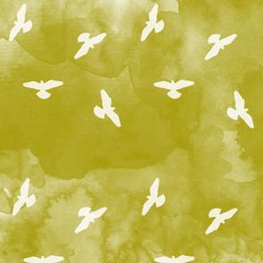 Watercolor Birds Olive