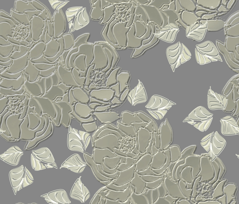Blossoms silver matte finish fabric by joanmclemore on Spoonflower - custom fabric