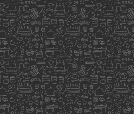 Sketchy Kitchen - Dark Grey fabric by jesseesuem on Spoonflower - custom fabric