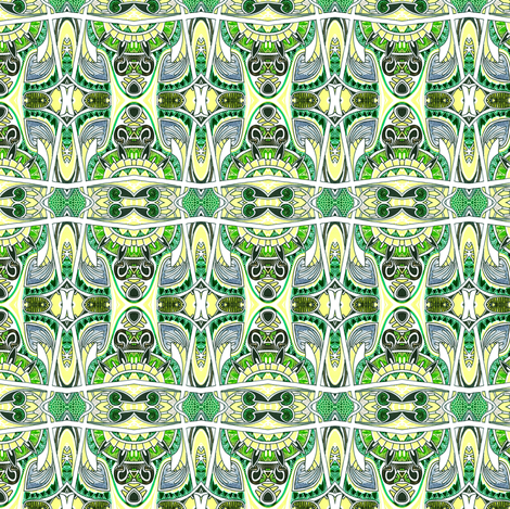 Surprised Tikis Go Green Plaid fabric by edsel2084 on Spoonflower - custom fabric