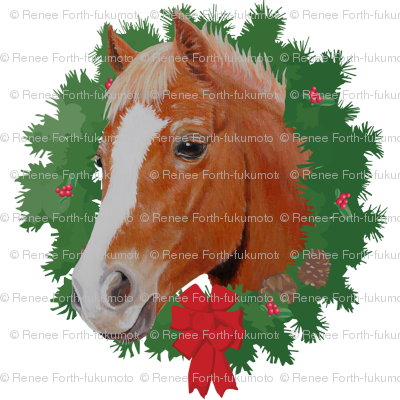 Christmas Chestnut Horse Pony