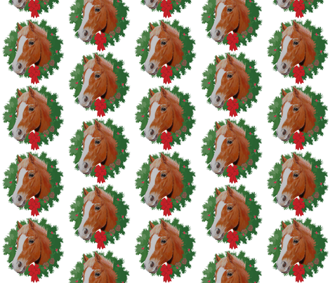 Christmas Chestnut Horse Pony fabric by theartfulhorse on Spoonflower - custom fabric