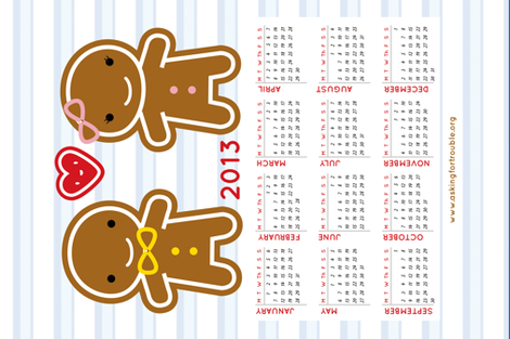 Cookie Cute 2013 Calendar (sized for Linen-Cotton) fabric by marcelinesmith on Spoonflower - custom fabric