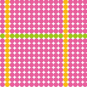 Pink dots with yellow and green lines bigger