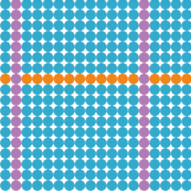 Blue Dots with Orange and Purple lines