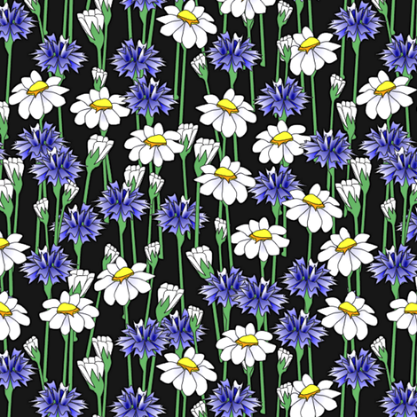 bachelor_buttons_and_daisies big fabric by glimmericks on Spoonflower - custom fabric