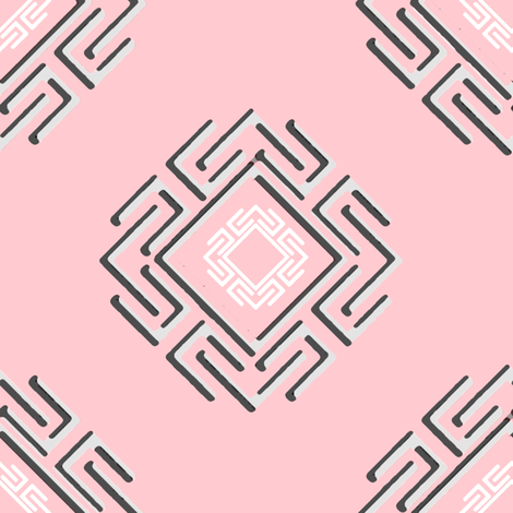 Fretwork in pink fabric by joanmclemore on Spoonflower - custom fabric