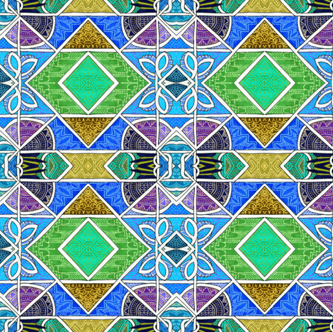 Geometric Parquet (summer colors) fabric by edsel2084 on Spoonflower - custom fabric