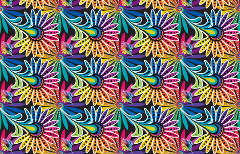Rainbow Feather Kaleidescope fabric by wendyg on Spoonflower - custom fabric