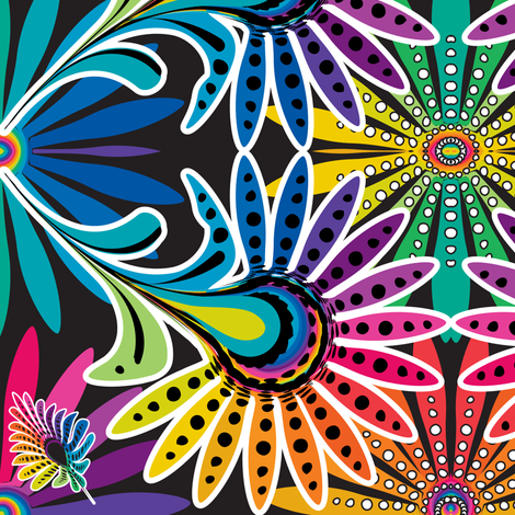 Rainbow Feather Kaleidescope fabric by mainsail_studio on Spoonflower - custom fabric