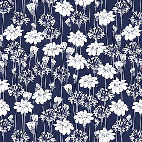 bachelor_buttons_and_daisies big navy fabric by glimmericks on Spoonflower - custom fabric