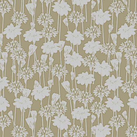 bachelor_buttons_and_daisies big rye fabric by glimmericks on Spoonflower - custom fabric