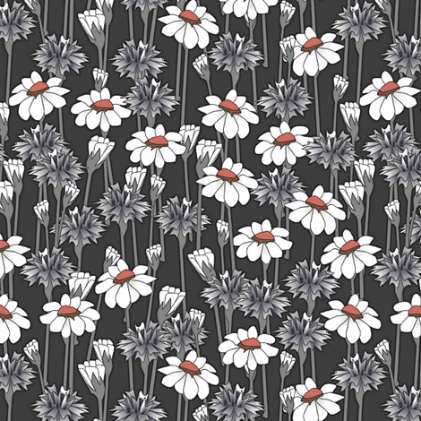bachelor buttons and daisies big red eye fabric by glimmericks on Spoonflower - custom fabric