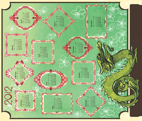 2012DragonCalender fabric by nikky on Spoonflower - custom fabric