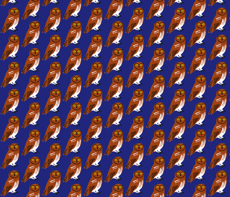 owl_on_dk_blue fabric by owlandchickadee on Spoonflower - custom fabric