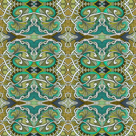 Dragon Skin Love in olive and teal fabric by edsel2084 on Spoonflower - custom fabric