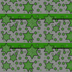 Green stars on grey.