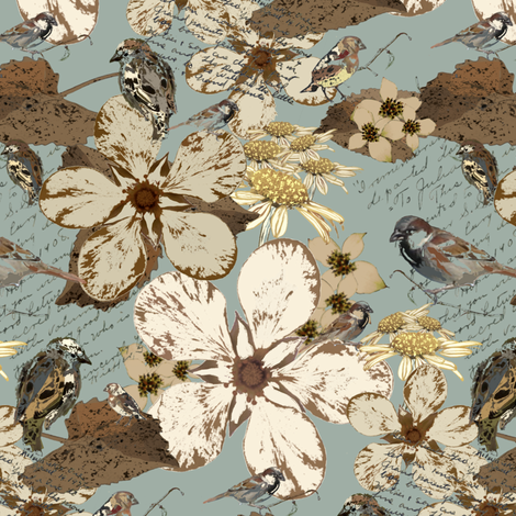 Flowers & Sparrows - 136 161 149 fabric by petals_fair_(peggy_brown) on Spoonflower - custom fabric