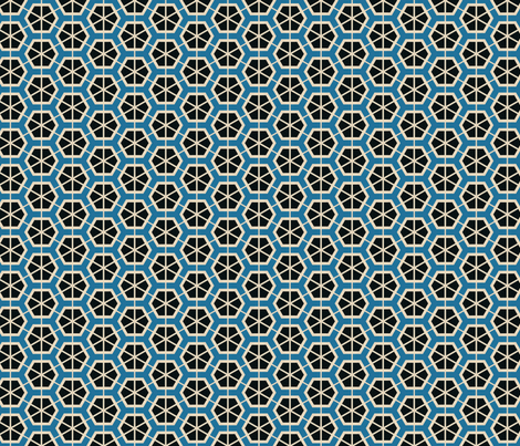 Retro Black & Blue Hexagons fabric by stoflab on Spoonflower - custom fabric